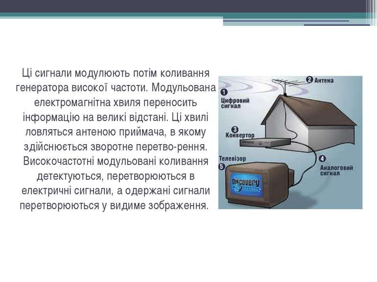 Ці сигнали модулюють потім коливання генератора високої частоти. Модульована ...