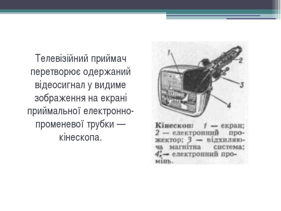 Телевізійний приймач перетворює одержаний відеосигнал у видиме зображення на ...