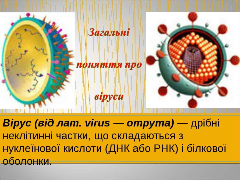 Вірус (від лат. virus — отрута) — дрібні неклітинні частки, що складаються з ...