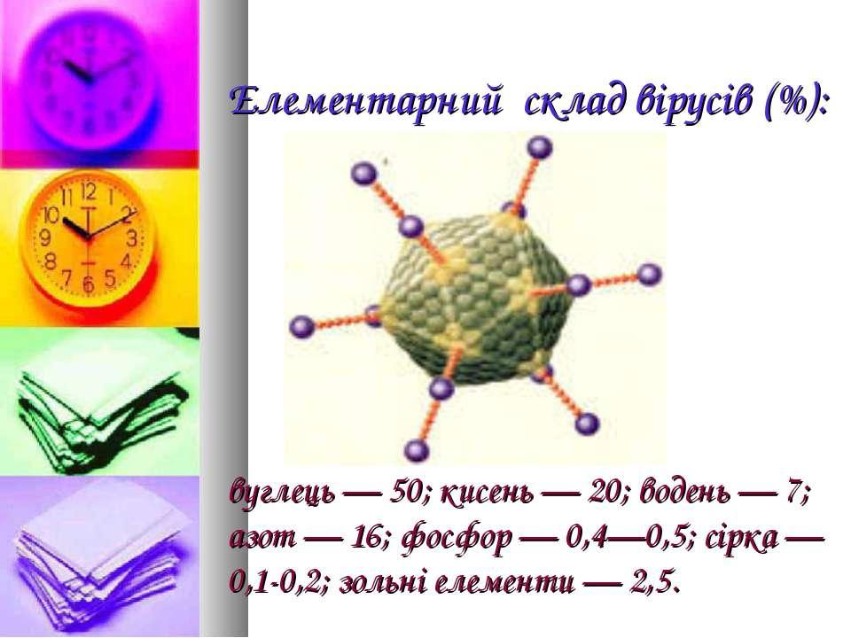 Елементарний склад вірусів (%): вуглець — 50; кисень — 20; водень — 7; азот —...
