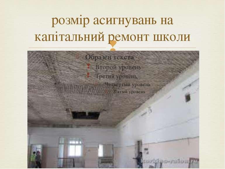 розмір асигнувань на капітальний ремонт школи