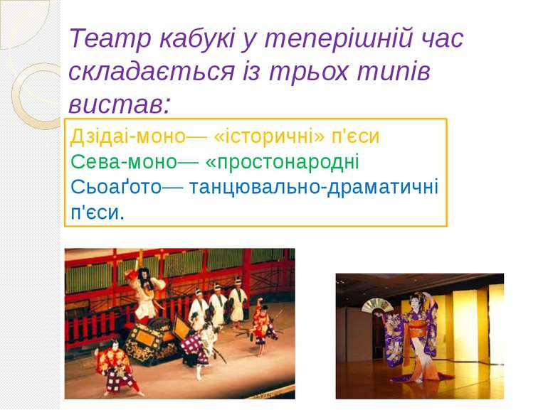 Театр кабукі у теперішній час складається із трьох типів вистав: Дзідаі-моно—...