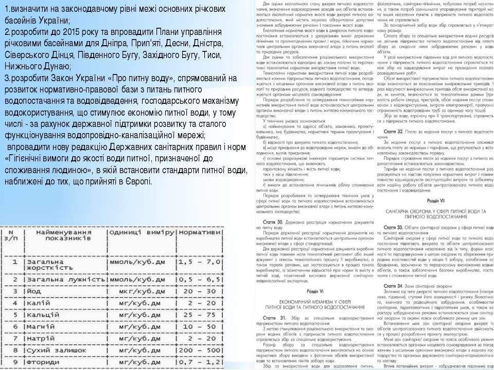 1.визначити на законодавчому рівні межі основних річкових басейнів України; 2...