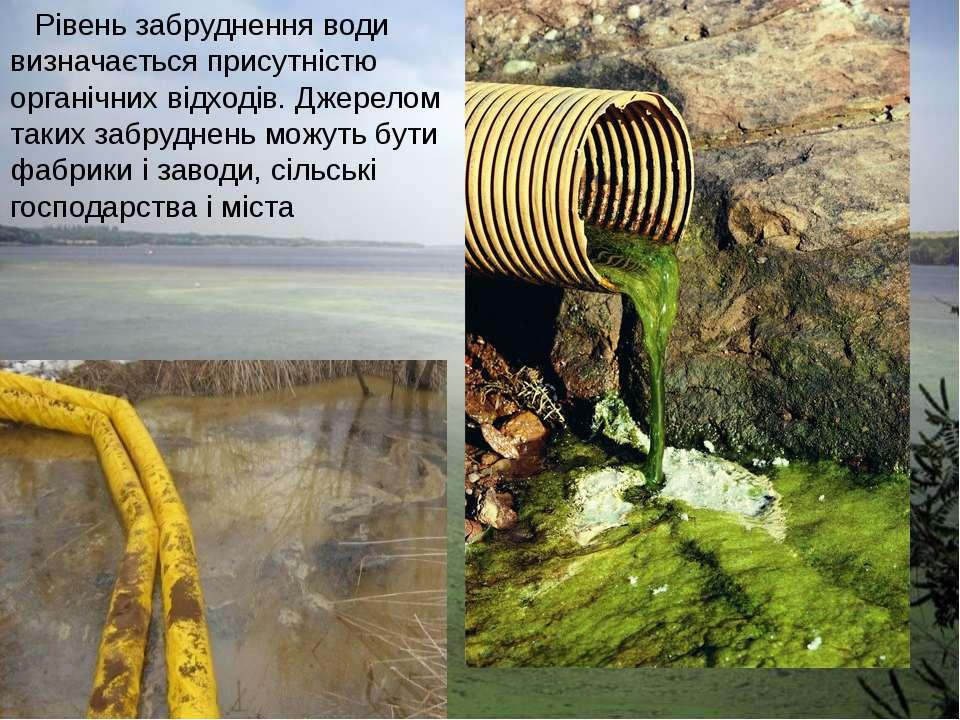 Рівень забруднення води визначається присутністю органічних відходів. Джерело...