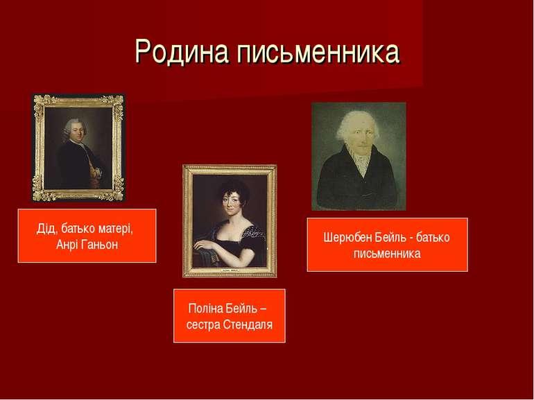Родина письменника Дід, батько матері, Анрі Ганьон Шерюбен Бейль - батько пис...