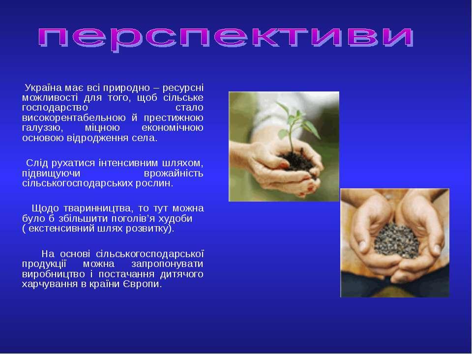 Україна має всі природно – ресурсні можливості для того, щоб сільське господа...
