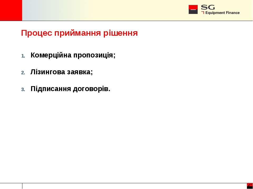 Процес приймання рішення Комерційна пропозиція; Лізингова заявка; Підписання ...