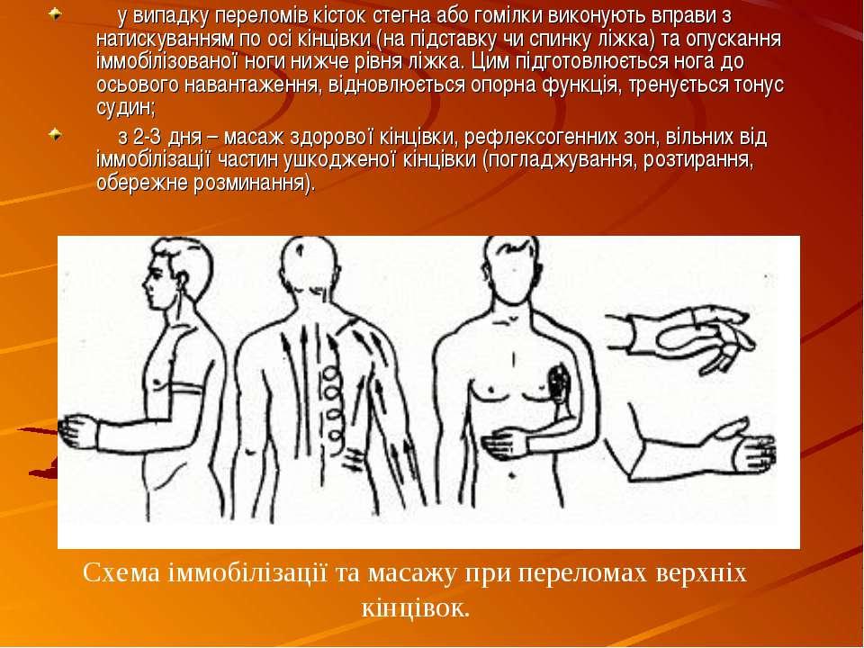 у випадку переломів кісток стегна або гомілки виконують вправи з натискування...