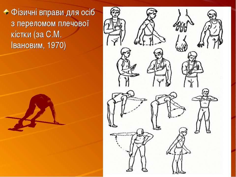 Фізичні вправи для осіб з переломом плечової кістки (за С.М. Івановим, 1970)