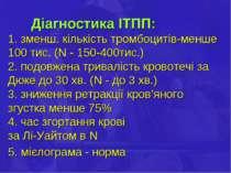 Діагностика ІТПП: 1. зменш. кількість тромбоцитів-менше 100 тис. (N - 150-400...