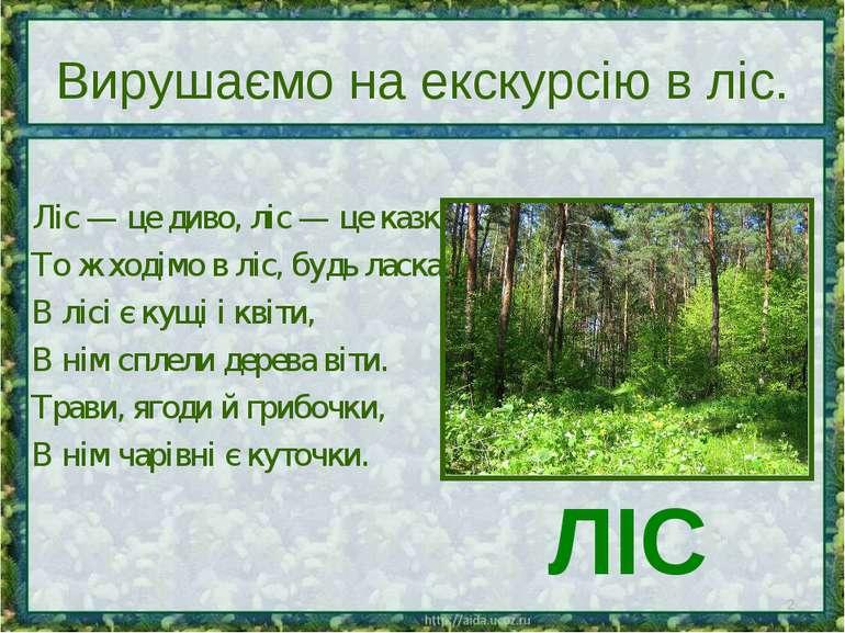 Вирушаємо на екскурсію в ліс. Ліс — це диво, ліс — це казка. То ж ходімо в лі...