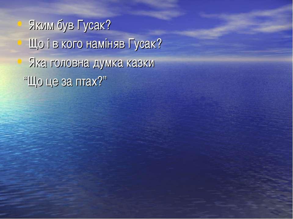 """Яким був Гусак? Що і в кого наміняв Гусак? Яка головна думка казки """"Що це за ..."""