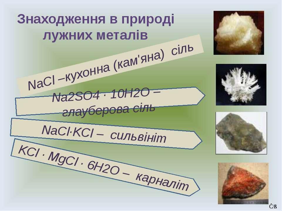 Знаходження в природі лужних металів NaCl –кухонна (кам'яна) сіль Na2SO4 · 10...