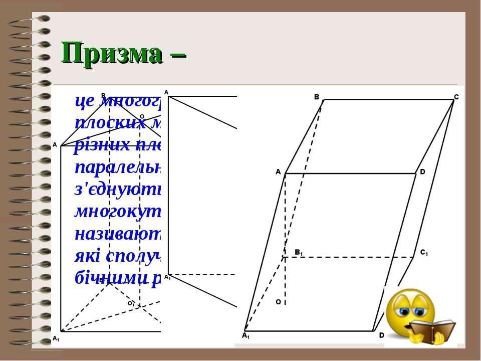 Призма – це многогранник, який складається з двох плоских многокутників, що л...