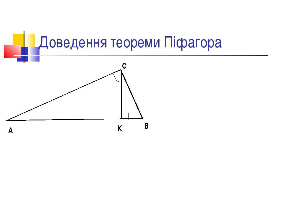 Доведення теореми Піфагора А В С К