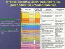 Історію розвитку Землі поділяють на догеологічний і геологічний час. Догеолог...