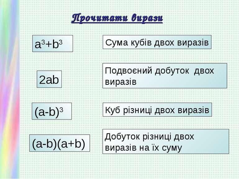 Прочитати вирази a3+b3 Сума кубів двох виразів 2ab Подвоєний добуток двох вир...
