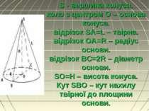 S - вершина конуса, коло з центром О – основа конуса. відрізок SA=L – твірна....