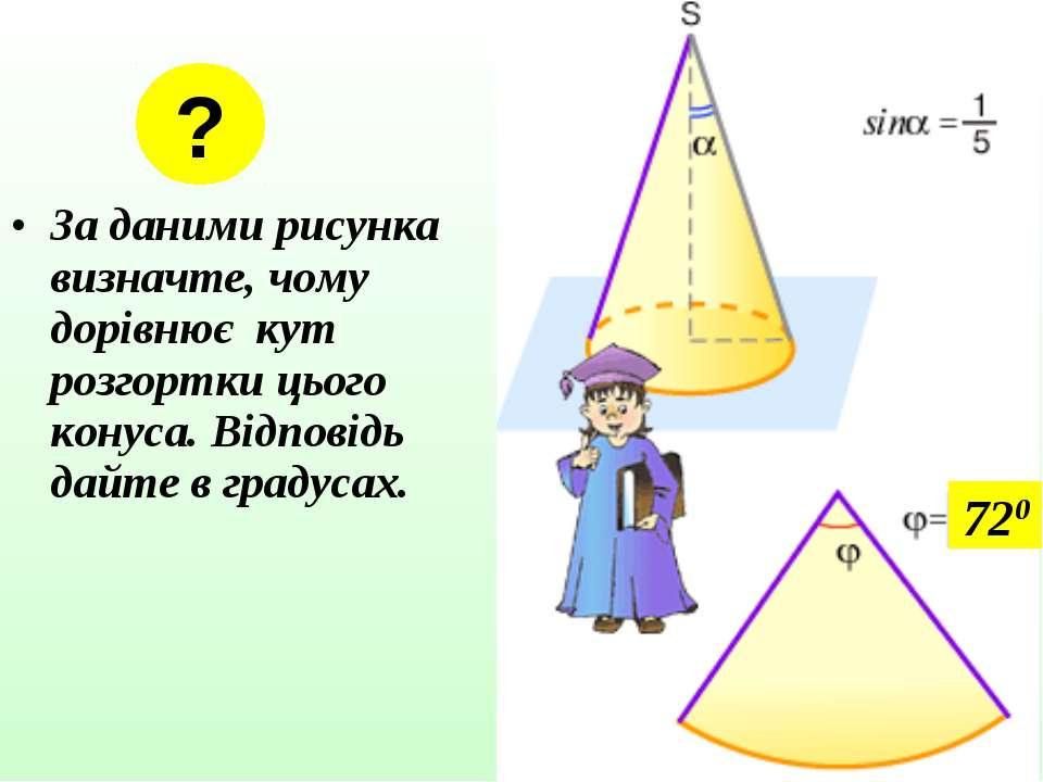 За даними рисунка визначте, чому дорівнює кут розгортки цього конуса. Відпові...