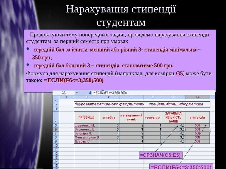 Нарахування стипендії студентам Продовжуючи тему попередньої задачі, проведем...