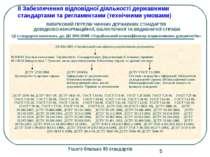 ІІ Забезпечення відповідної діяльності державними стандартами та регламентами...