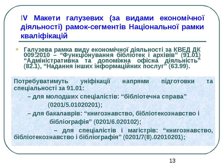 ІV Макети галузевих (за видами економічної діяльності) рамок-сегментів Націон...