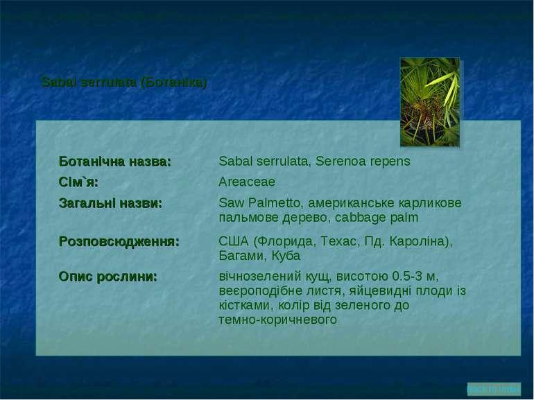 Ботанічна назва: Sabal serrulata, Serenoa repens Сім`я: Areaceae Загальні наз...