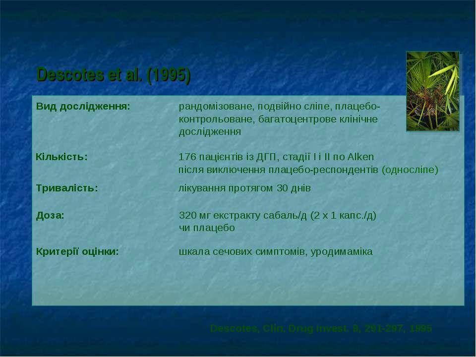 Descotes et al. (1995) Вид дослідження: рандомізоване, подвійно сліпе, плацеб...