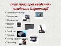 Інші пристрої введення-виведення інформації Цифрова фотокамера Факс-модем Ман...