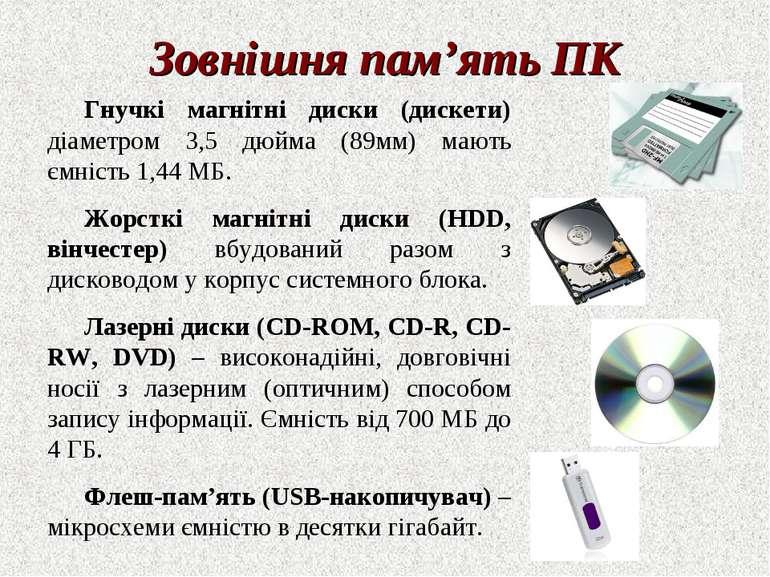 Зовнішня пам'ять ПК Гнучкі магнітні диски (дискети) діаметром 3,5 дюйма (89мм...
