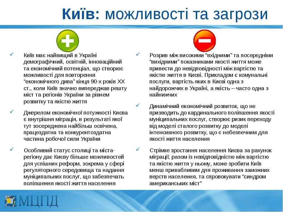 Київ: можливості та загрози Київ має найвищий в Україні демографічний, освітн...