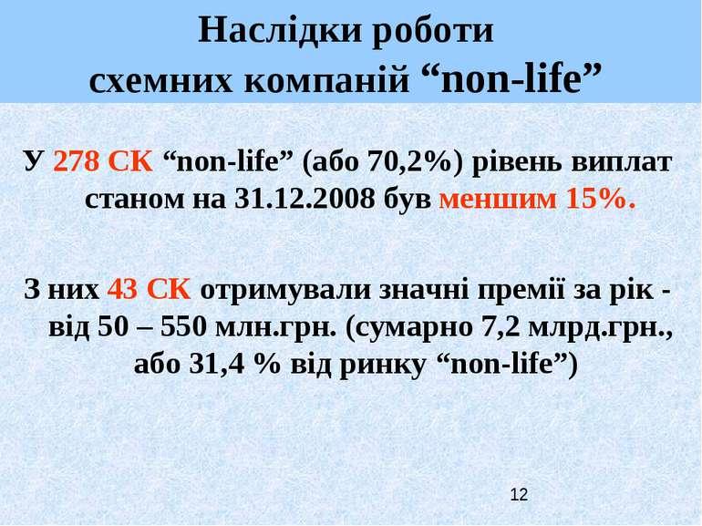 "У 278 СК ""non-life"" (або 70,2%) рівень виплат станом на 31.12.2008 був меншим..."
