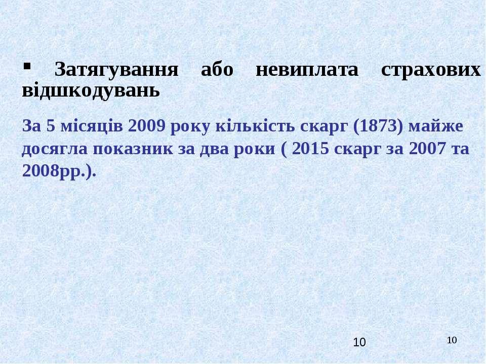 * Затягування або невиплата страхових відшкодувань За 5 місяців 2009 року кіл...