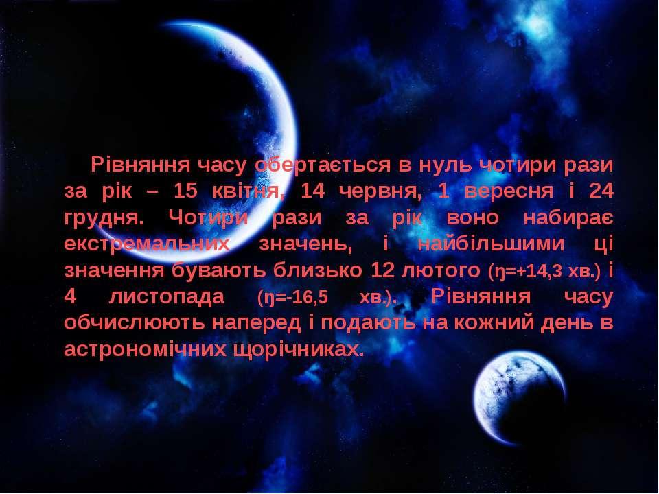 Рівняння часу обертається в нуль чотири рази за рік – 15 квітня, 14 червня, 1...