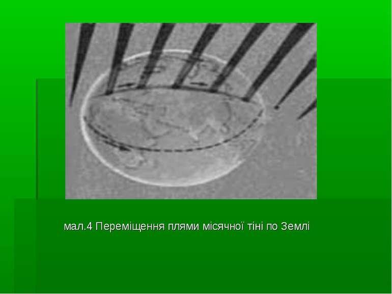 мал.4 Переміщення плями місячної тіні по Землі