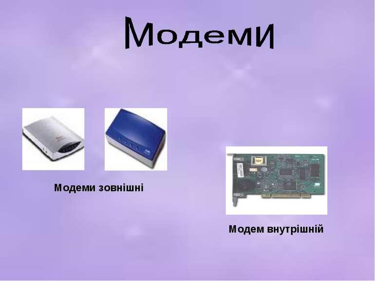 Модеми зовнішні Модем внутрішній