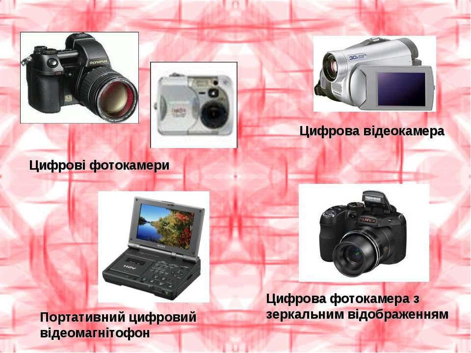 Цифрові фотокамери Цифрова відеокамера Портативний цифровий відеомагнітофон Ц...
