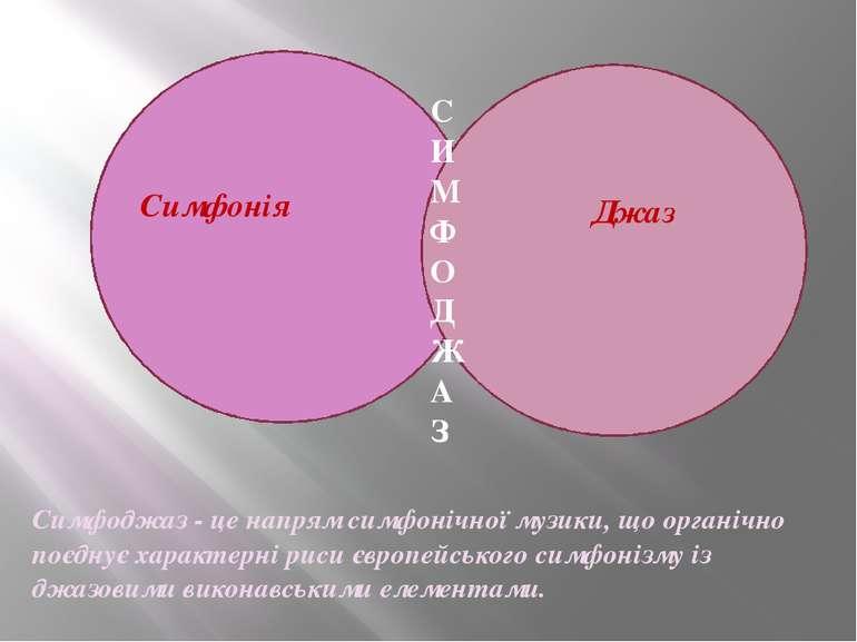 Симфонія Джаз СИМФОДЖАЗ Симфоджаз - це напрям симфонічної музики, що органічн...