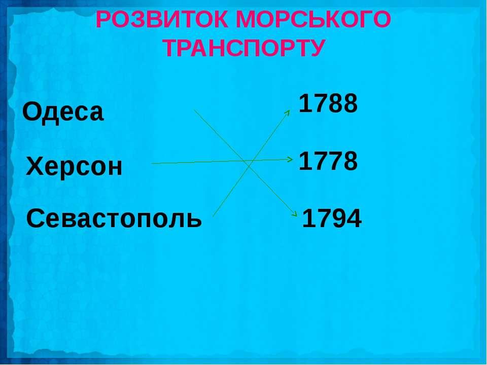 Херсон Одеса Севастополь 1788 1778 1794 РОЗВИТОК МОРСЬКОГО ТРАНСПОРТУ
