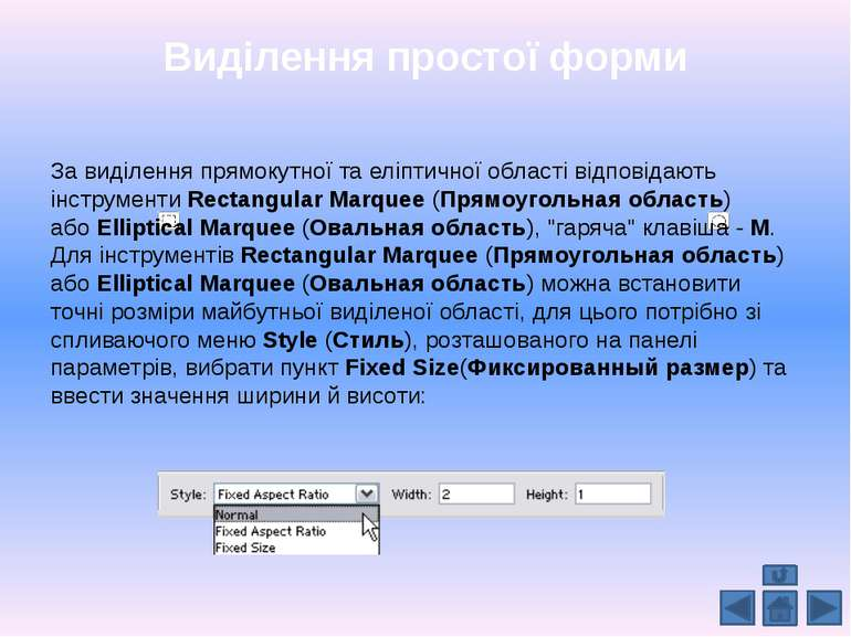 Виділення простої форми За виділення прямокутної та еліптичної області відпов...