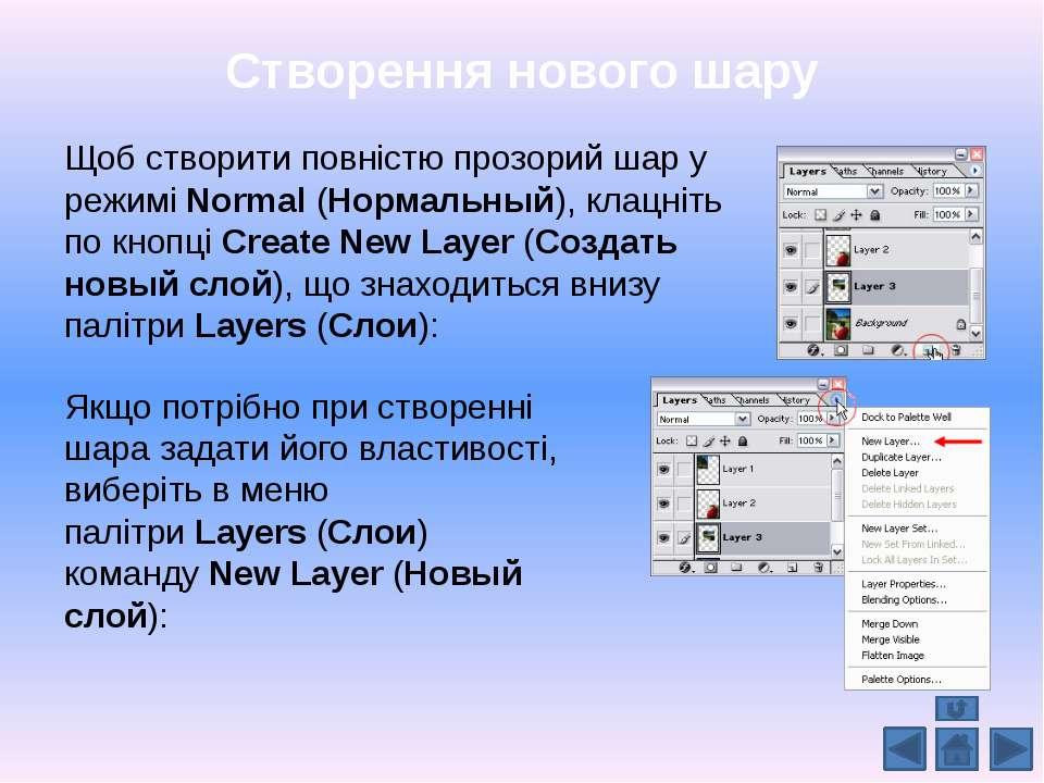 Створення нового шару Щоб створити повністю прозорий шар у режиміNormal...