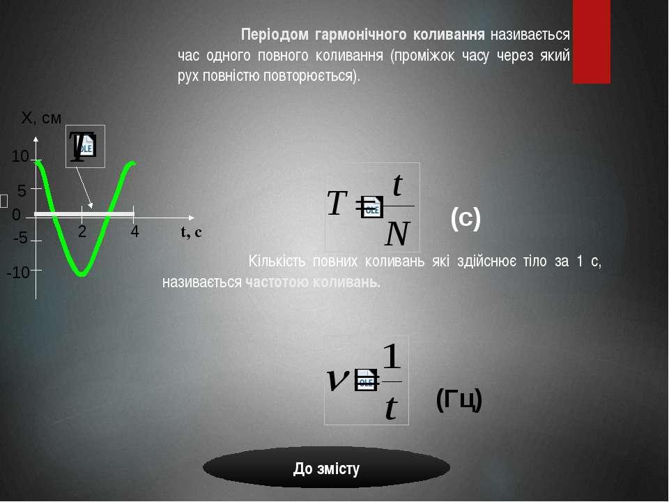 Кількість повних коливань які здійснює тіло за 1 с, називається частотою коли...