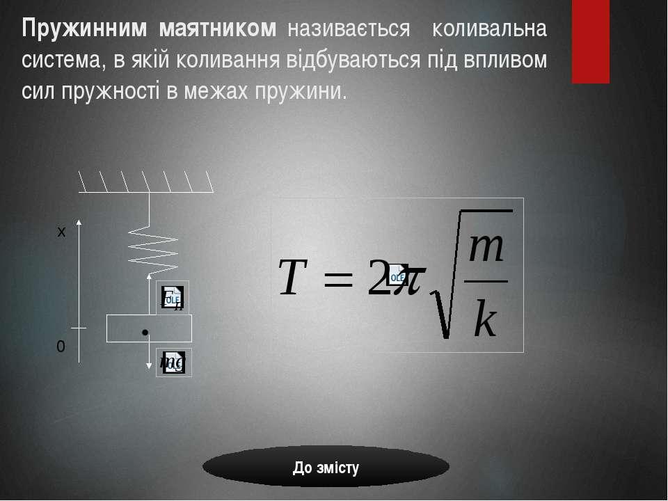 Пружинним маятником називається коливальна система, в якій коливання відбуваю...