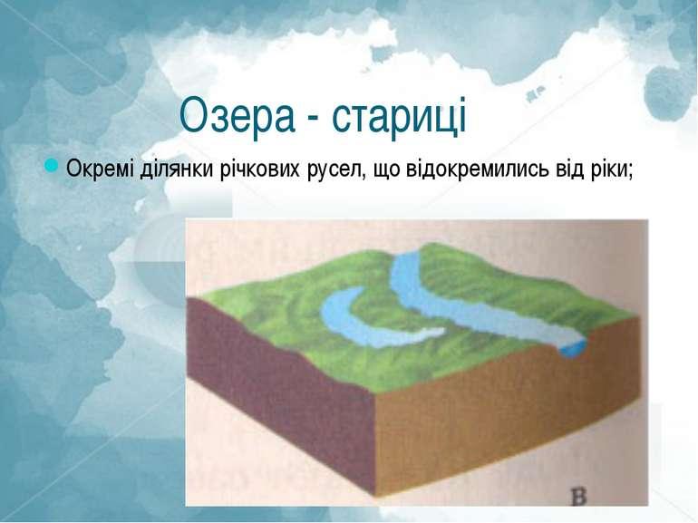 Озера - стариці Окремі ділянки річкових русел, що відокремились від ріки;