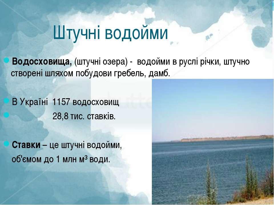 Штучні водойми Водосховища, (штучні озера) - водойми в руслі річки, штучно ст...