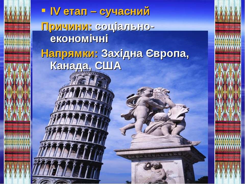 IV етап – сучасний Причини: соціально-економічні Напрямки: Західна Європа, Ка...