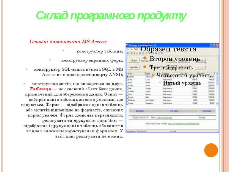 Склад програмного продукту Основні компоненти MS Access: конструктор таблиць;...
