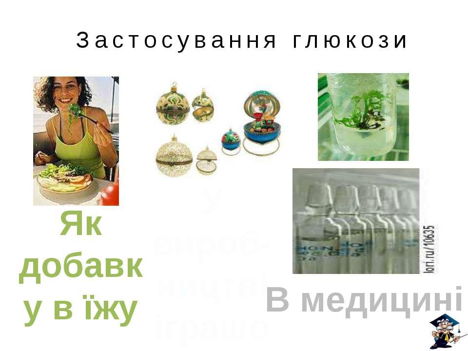 Застосування глюкози В медицині Як добавку в їжу У вироб-ництві іграшок