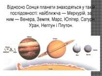 Відносно Сонця планети знаходяться у такій послідовності: найближча — Меркурі...