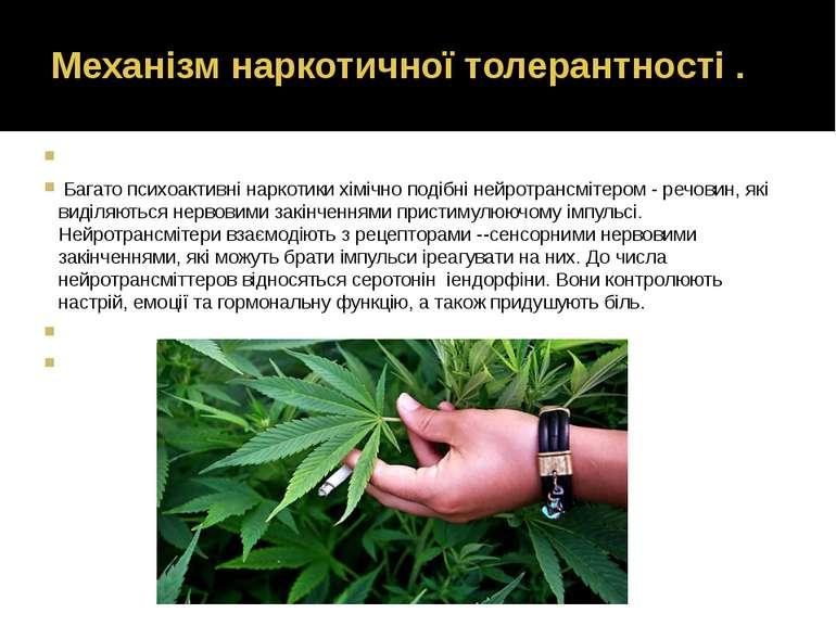 Механізм наркотичної толерантності .  Багато психоактивні наркотики хімічно ...